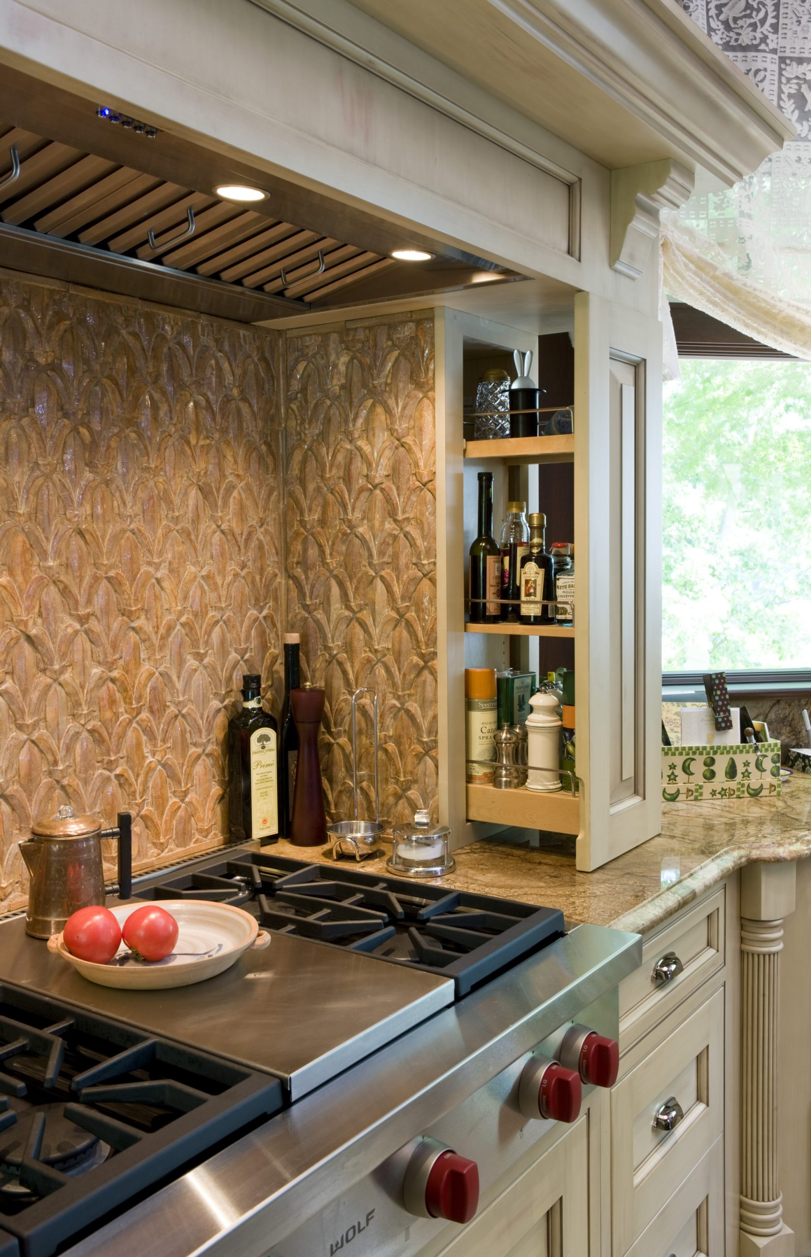 Manganaro, A&M- Kitchen-Greenfield- Traditional- Stain- Range- Open Spice Rack