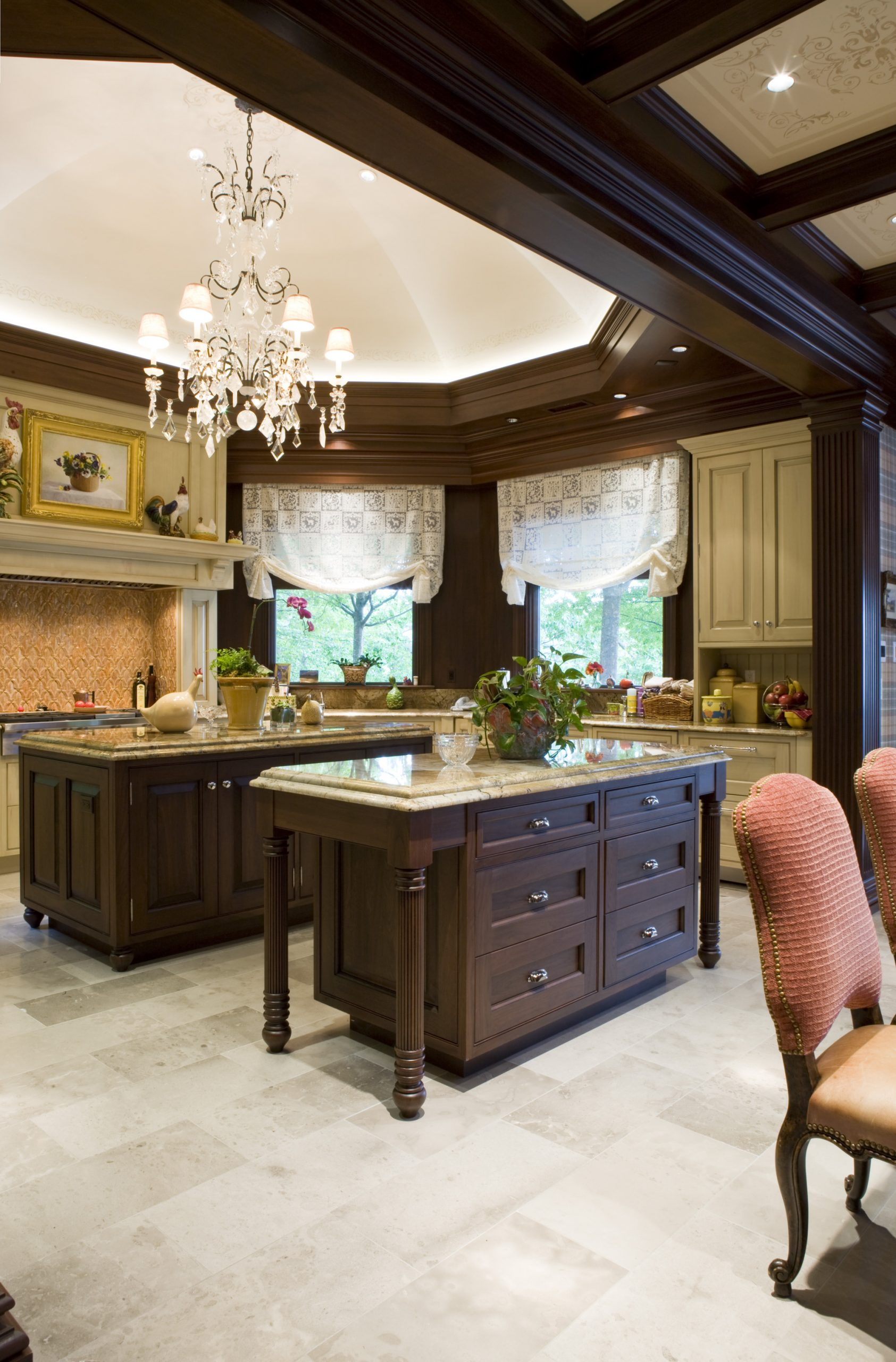 Manganaro, A&M- Kitchen- Greenfield- Traditional- Stain- Two Island w Ceiling