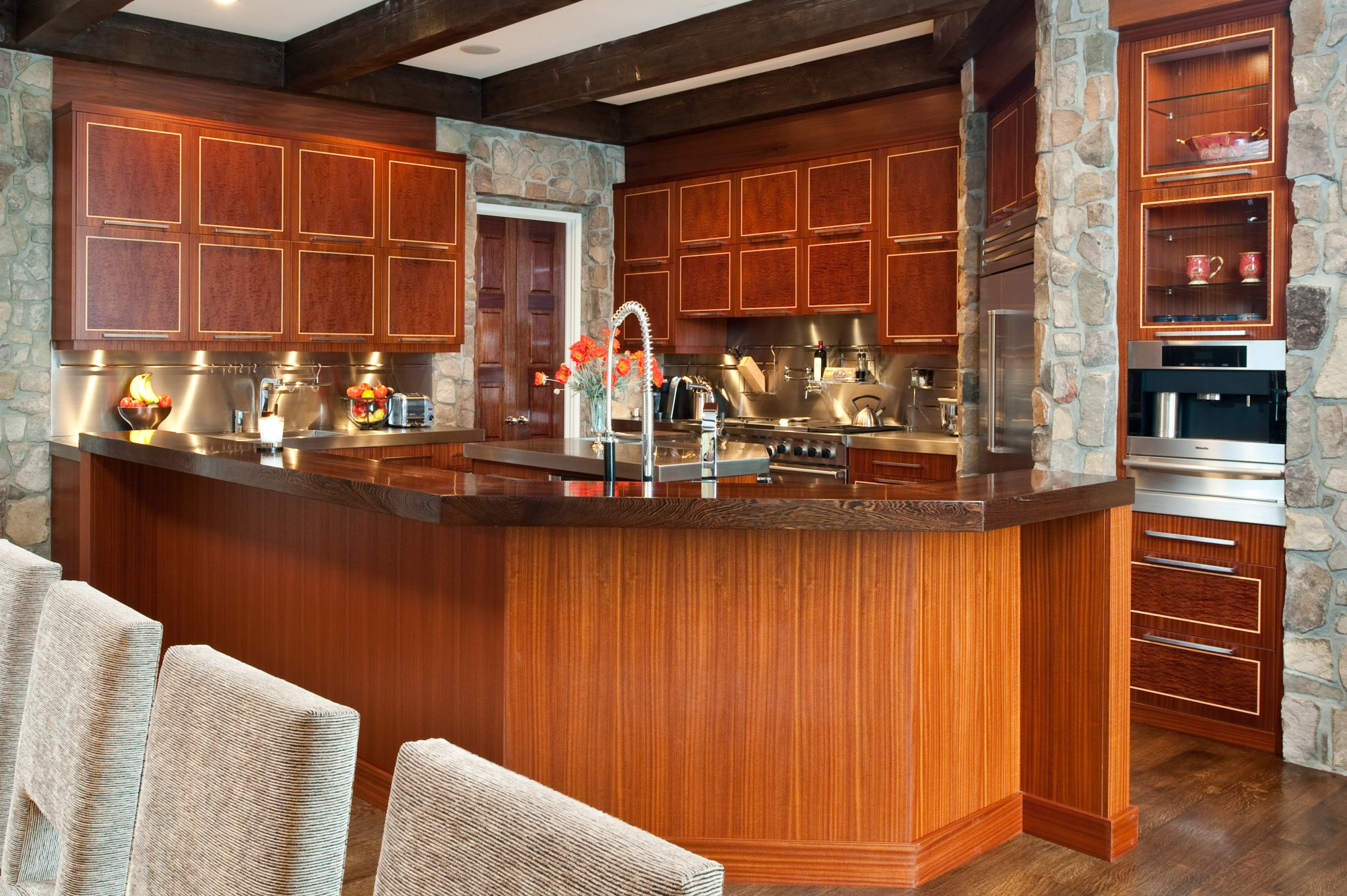Manganaro, T&G- 2009- Kitchen- Neff Mahogany w Inlay- Contemporary- Wood breakfast bar top, coffee system, tall faucet- The Downs